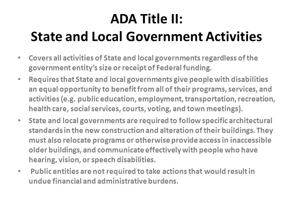 ADA Title II: State and Local Government Activities