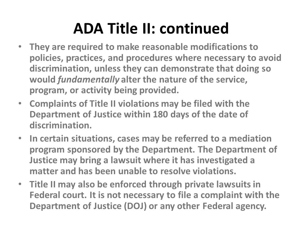 ADA Title II: continued