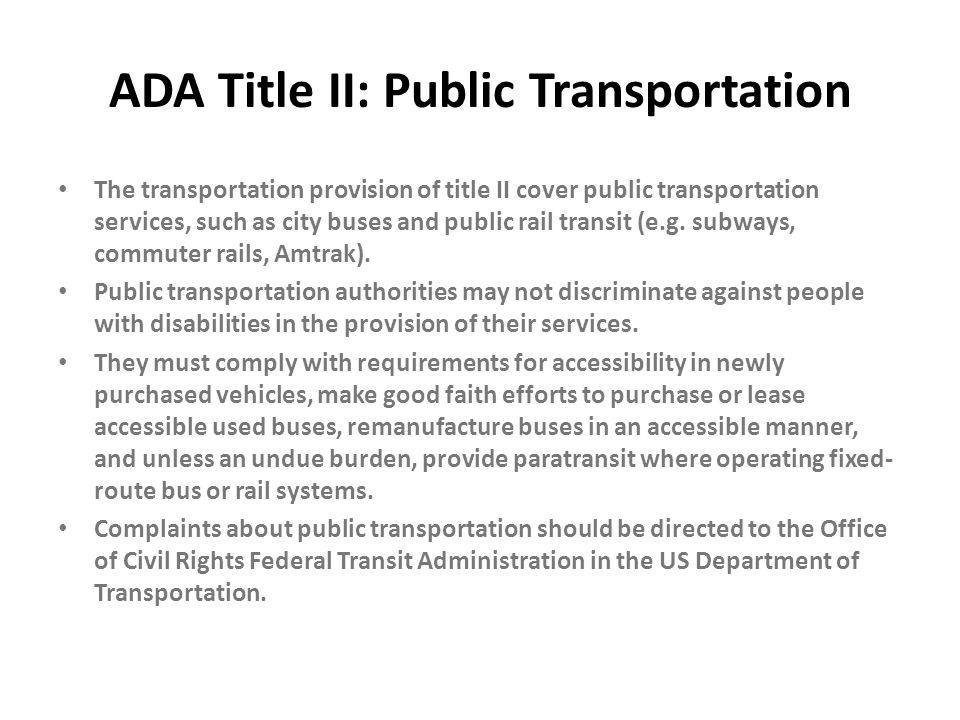 ADA Title II: Public Transportation