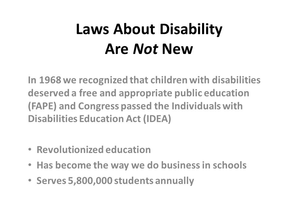 Laws About Disability Are Not New