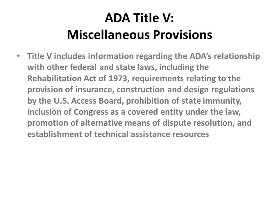 ADA Title V: Miscellaneous Provisions