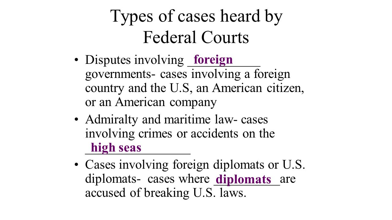 Types of cases heard by Federal Courts