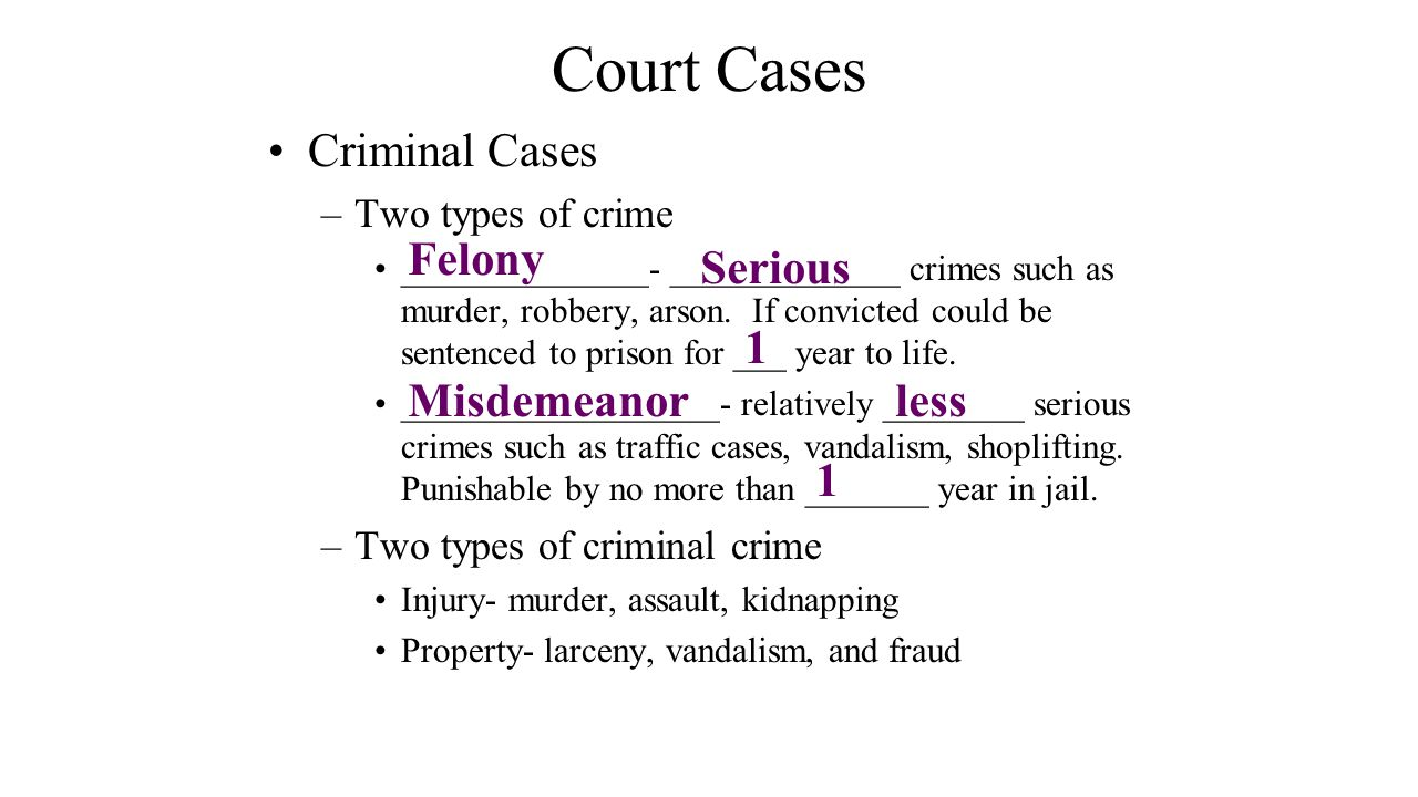 Court Cases Criminal Cases Felony Serious 1 Misdemeanor less 1