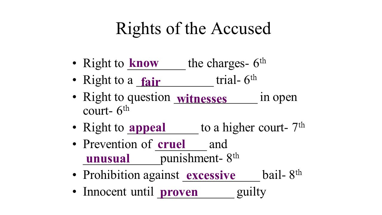 Rights of the Accused know Right to _________ the charges- 6th