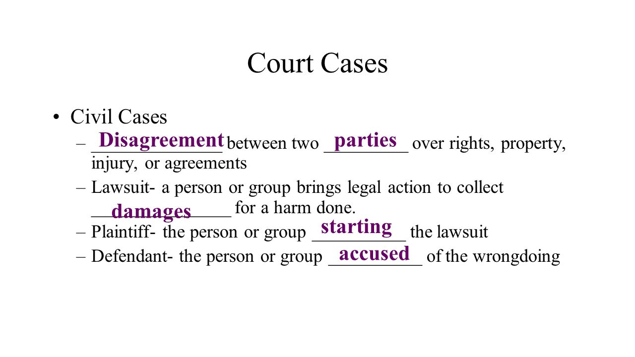 Court Cases Civil Cases Disagreement parties damages starting accused