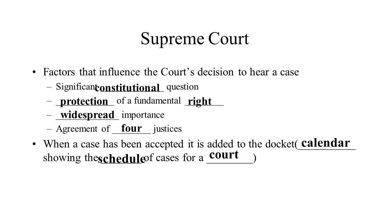 Supreme Court calendar court schedule