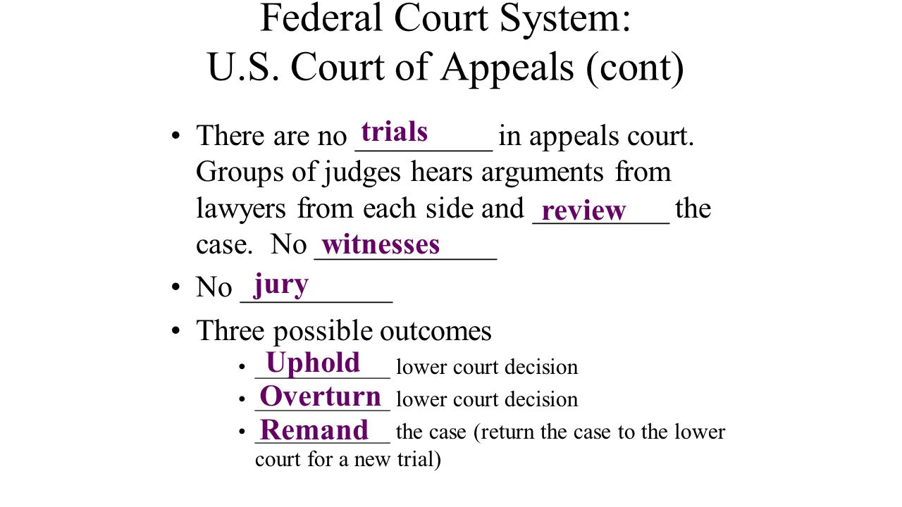 Federal Court System: U.S. Court of Appeals (cont)