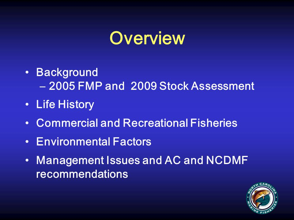 Overview Background 2005 FMP and 2009 Stock Assessment Life History