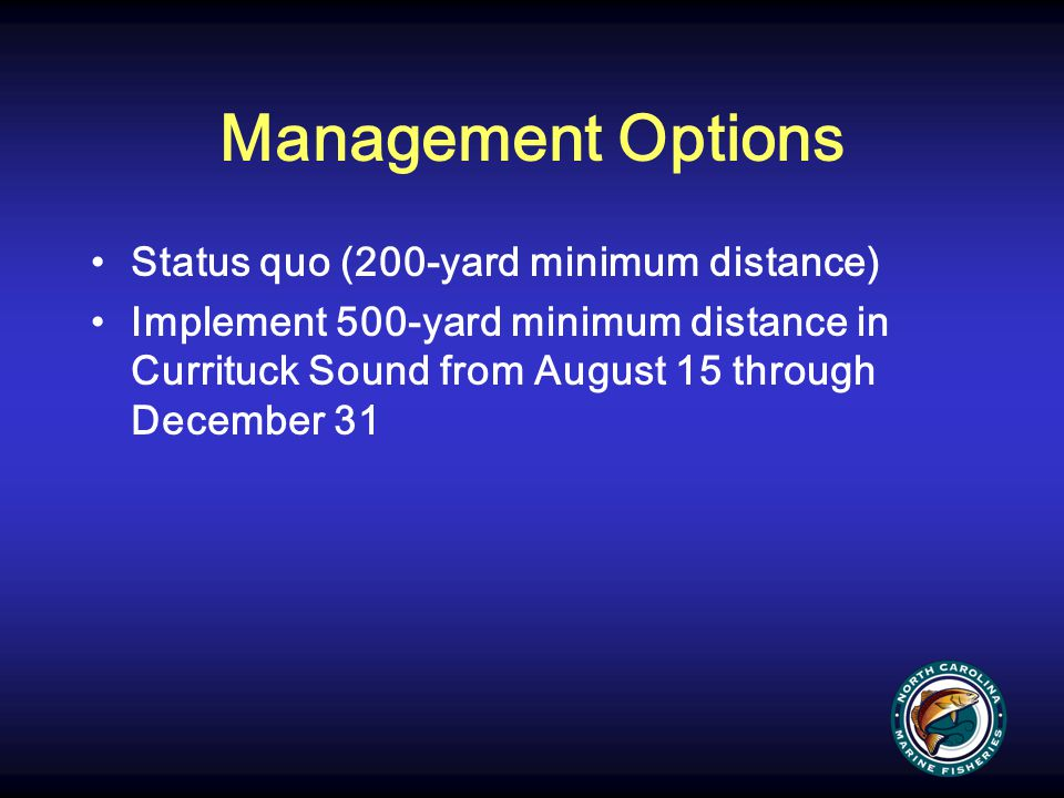 Management Options Status quo (200-yard minimum distance)