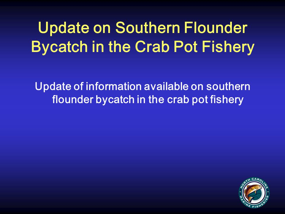 Update on Southern Flounder Bycatch in the Crab Pot Fishery