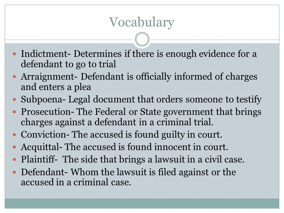 Vocabulary Indictment- Determines if there is enough evidence for a defendant to go to trial.