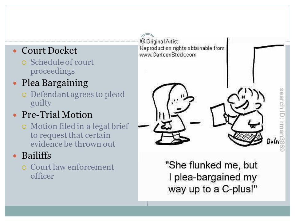 Court Docket Plea Bargaining Pre-Trial Motion Bailiffs
