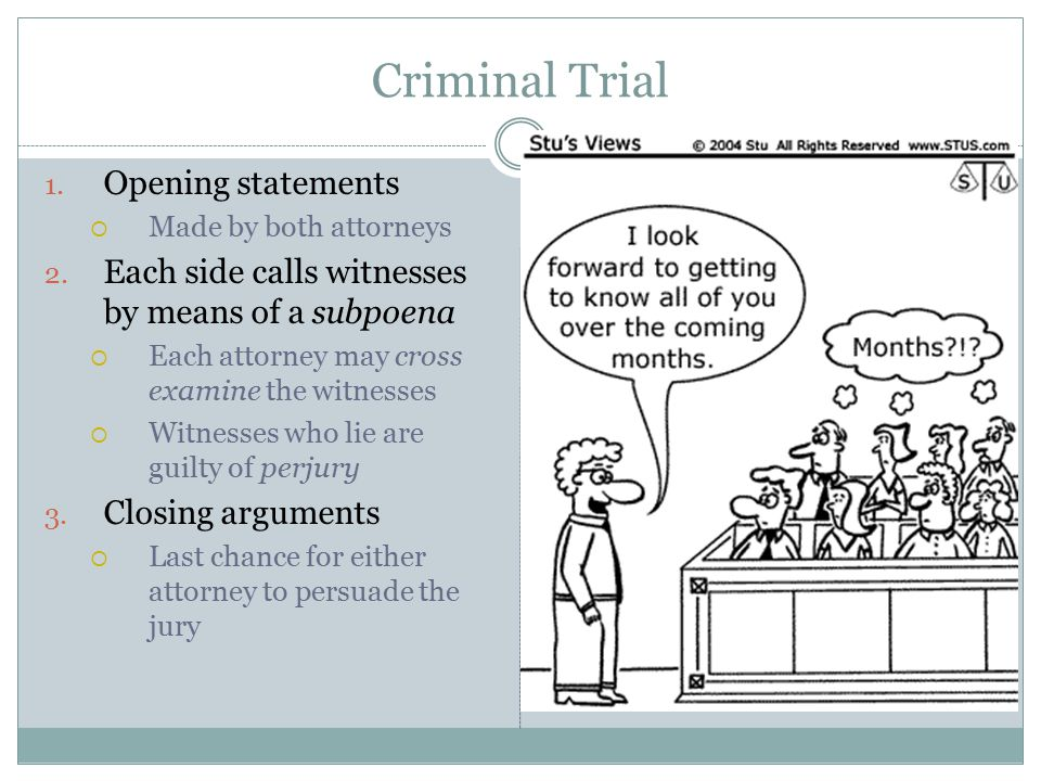 Criminal Trial Opening statements
