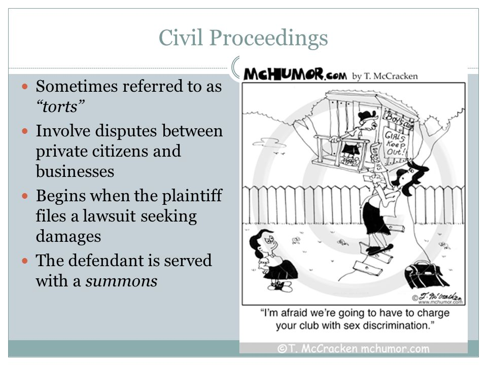 Civil Proceedings Sometimes referred to as torts