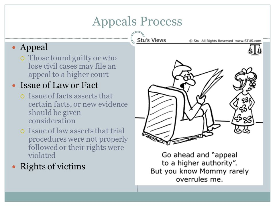Appeals Process Appeal Issue of Law or Fact Rights of victims