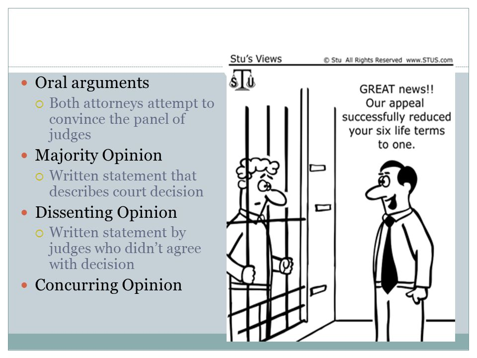 Oral arguments Majority Opinion Dissenting Opinion Concurring Opinion
