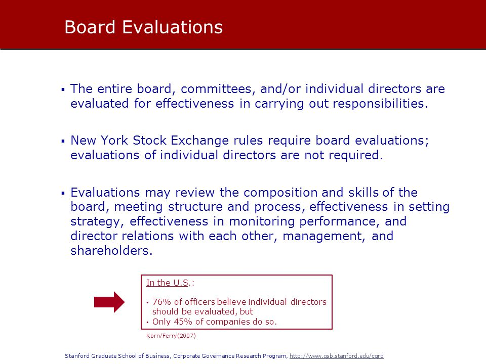 Board Evaluations The entire board, committees, and/or individual directors are evaluated for effectiveness in carrying out responsibilities.