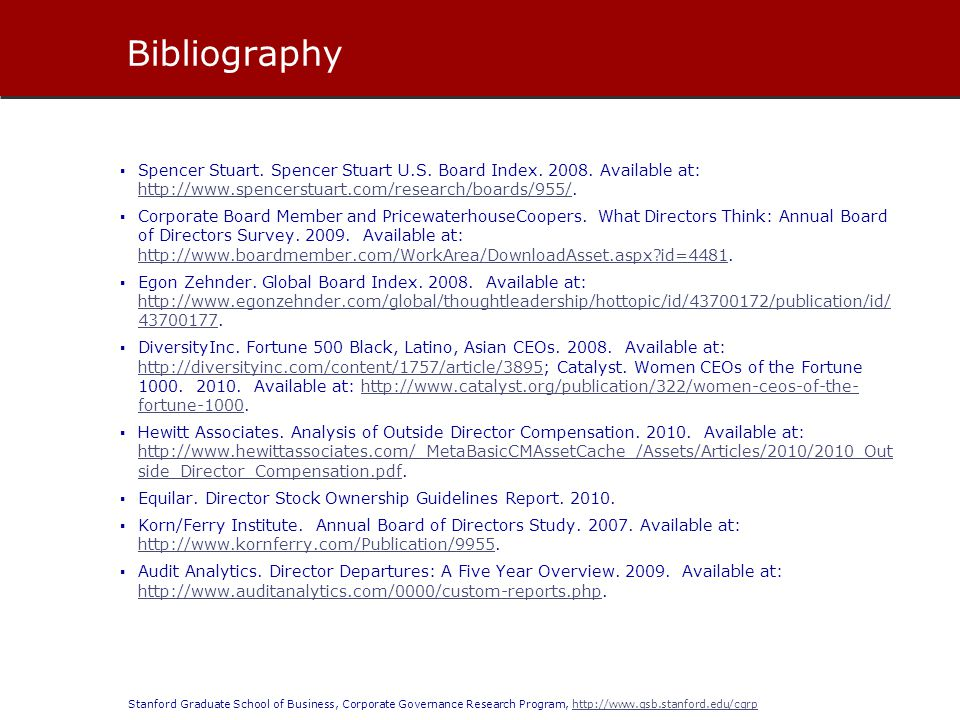 Bibliography Spencer Stuart. Spencer Stuart U.S. Board Index. 2008. Available at: http://www.spencerstuart.com/research/boards/955/.