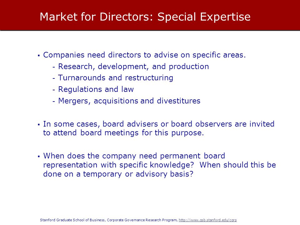 Market for Directors: Special Expertise