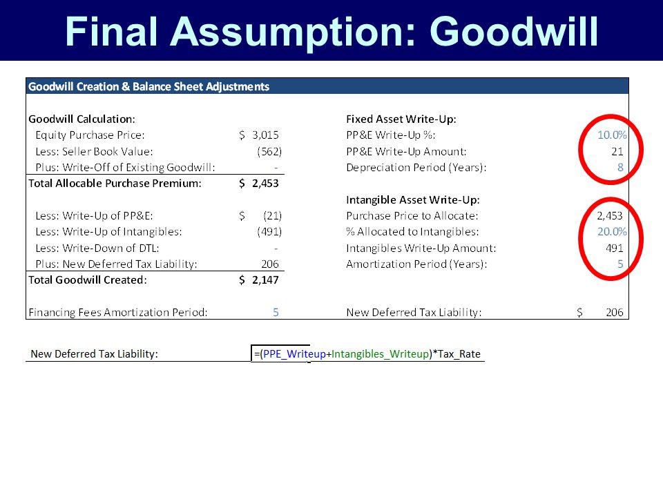 Final Assumption: Goodwill