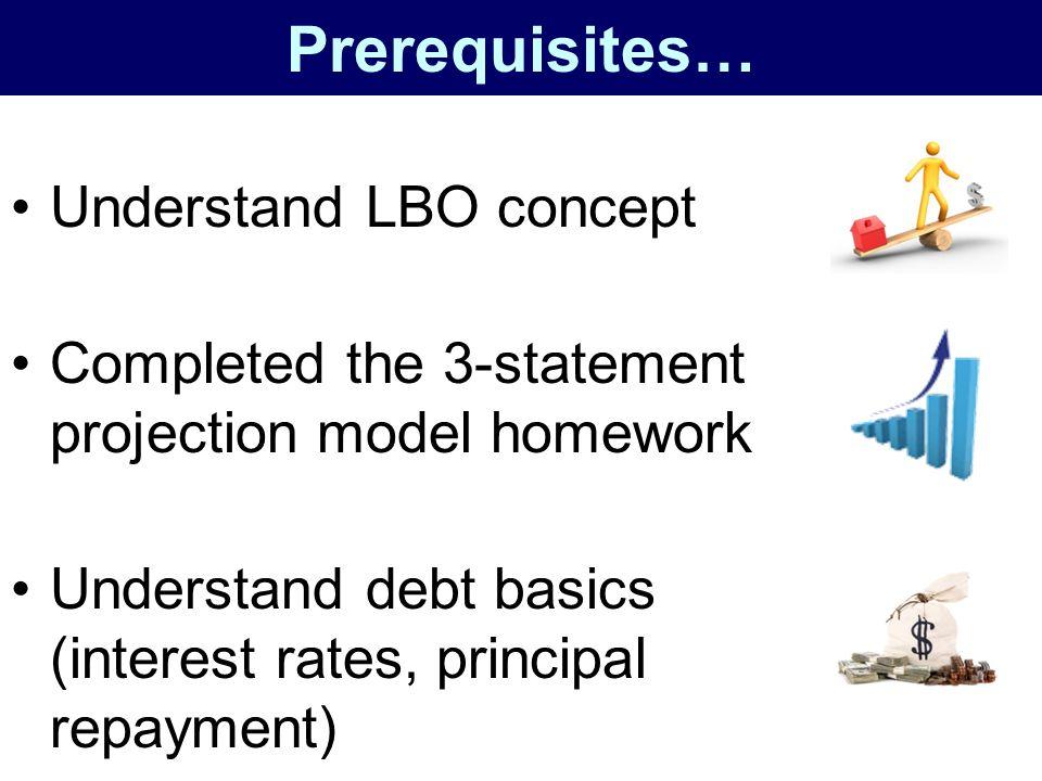 Prerequisites… Understand LBO concept