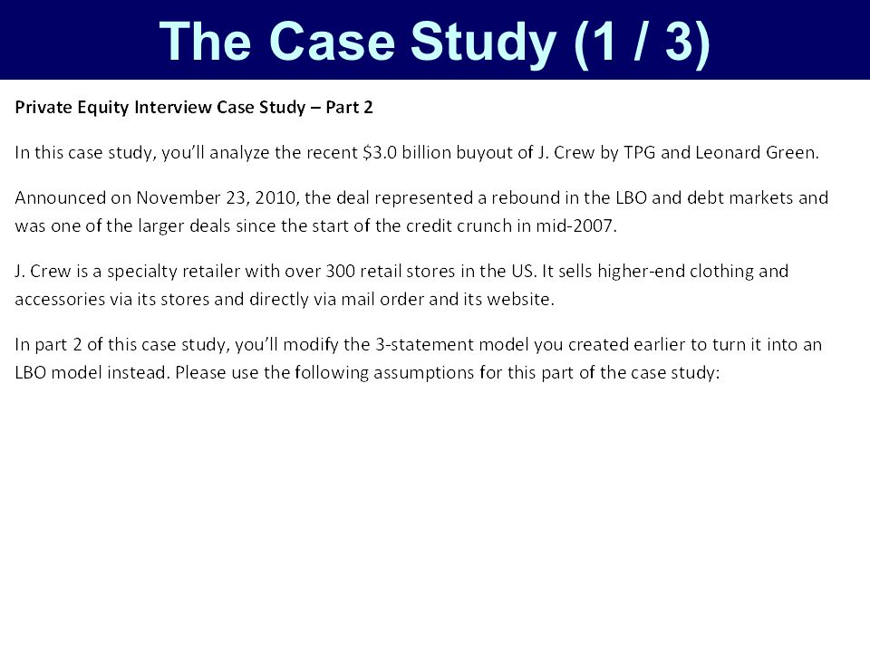 private equity case study interview questions The step-by-step program uses a real case study approach and sample investment banking interview guide questions a private company won't have an equity beta.