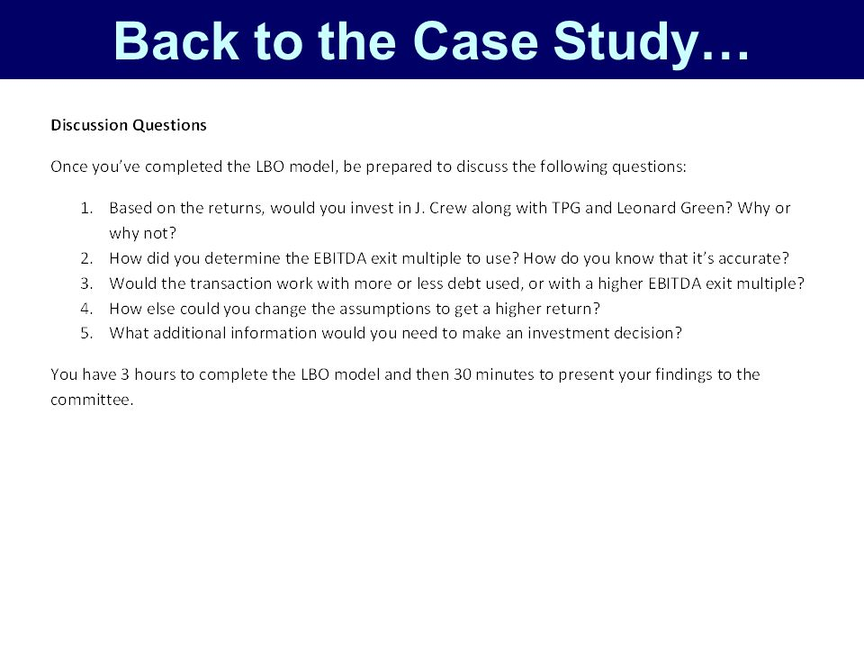 Back to the Case Study…