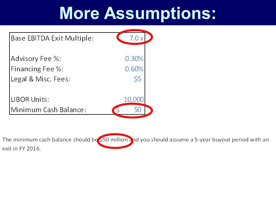 More Assumptions: