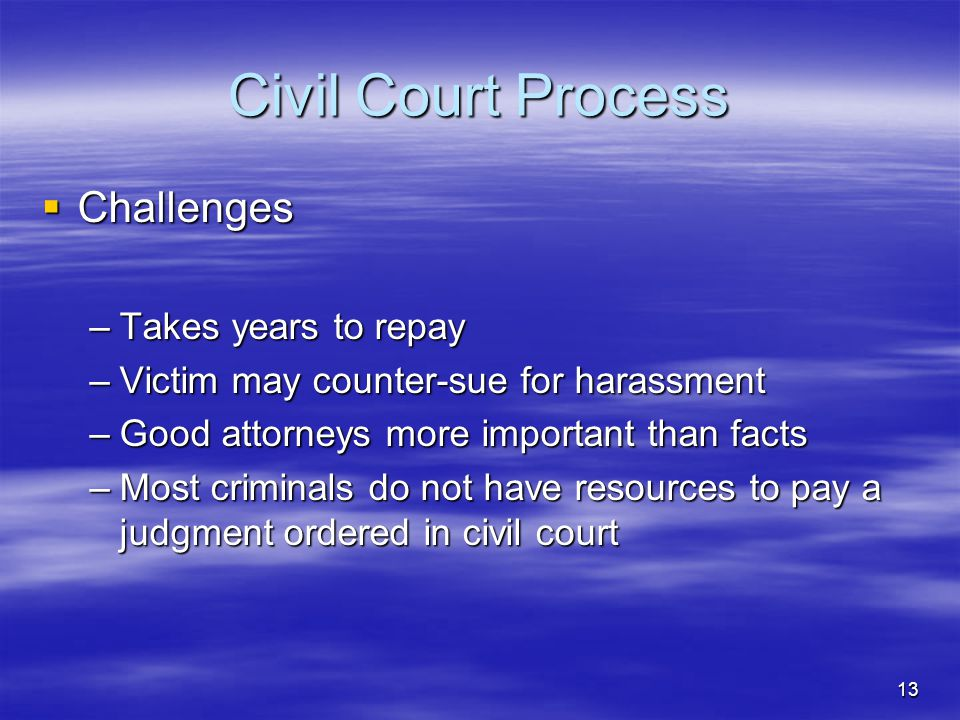 Civil Court Process Challenges Takes years to repay