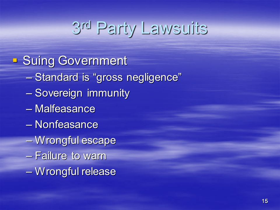 3rd Party Lawsuits Suing Government Standard is gross negligence