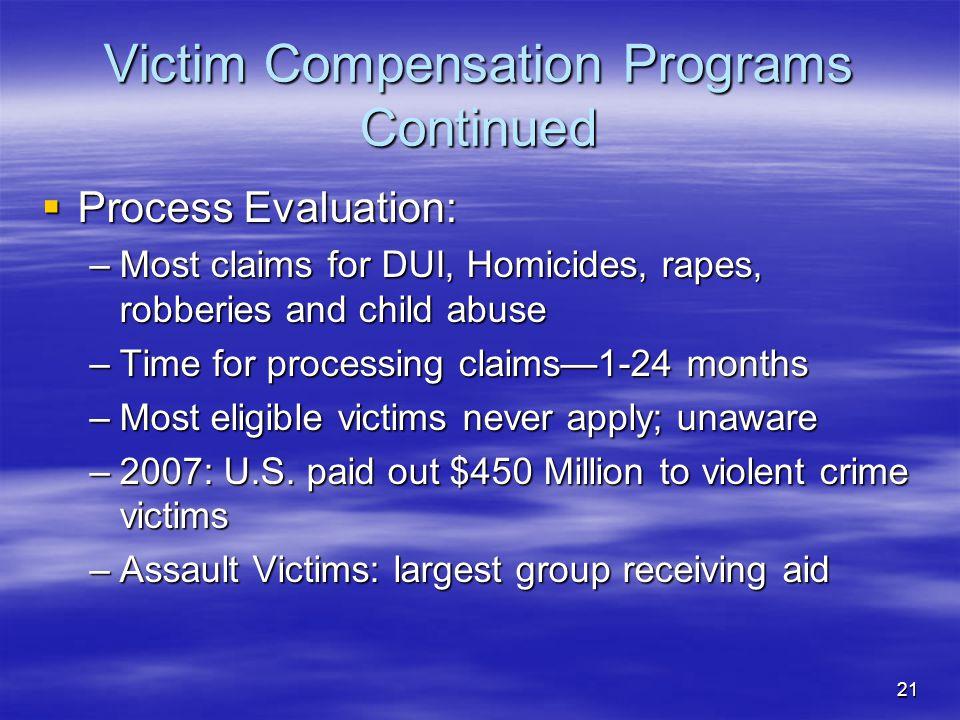 Victim Compensation Programs Continued