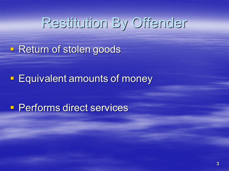 Restitution By Offender