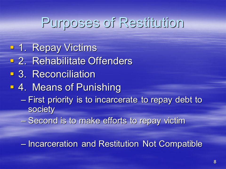 Purposes of Restitution