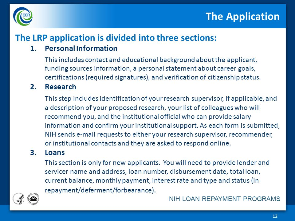 The Application The LRP application is divided into three sections: