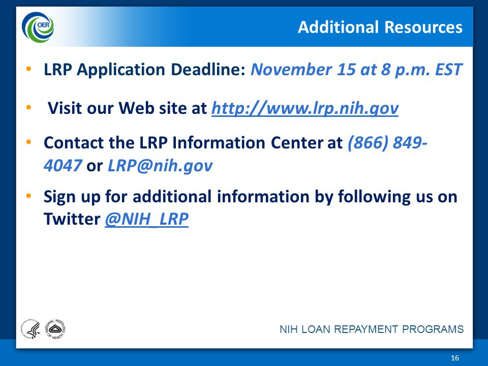 LRP Application Deadline: November 15 at 8 p.m. EST