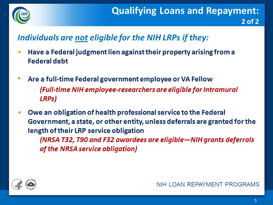 Qualifying Loans and Repayment: 2 of 2