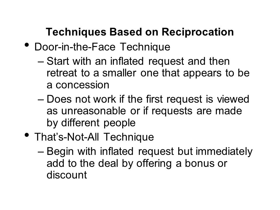 Techniques Based on Reciprocation