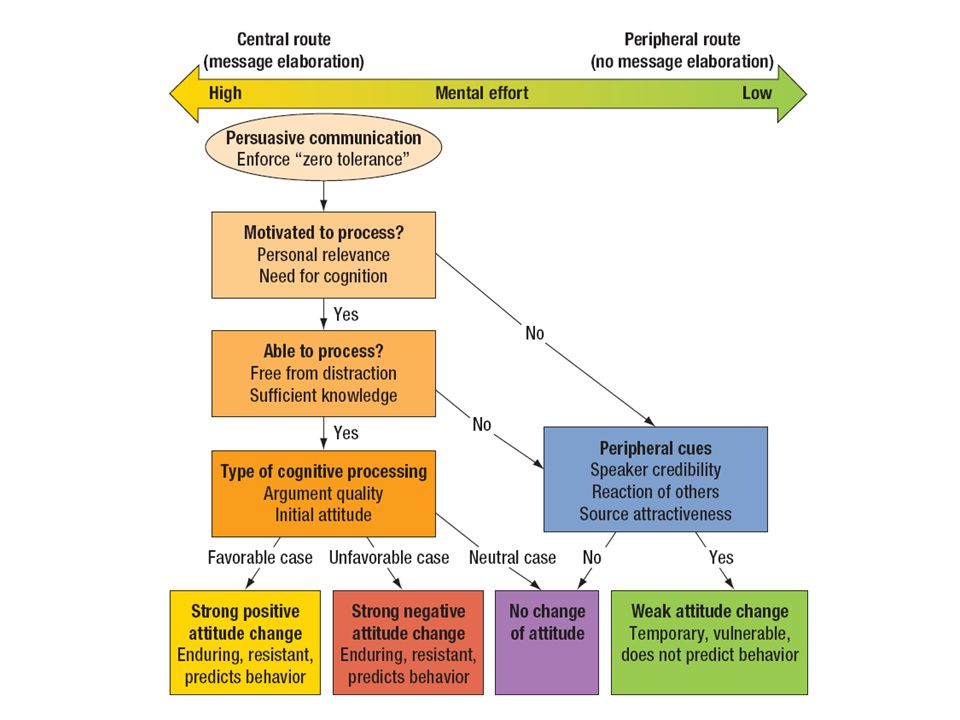 Figure 8.3 Elaboration likelihood model (ELM) of persuasion