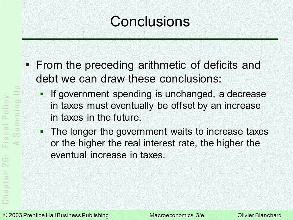Conclusions From the preceding arithmetic of deficits and debt we can draw these conclusions: