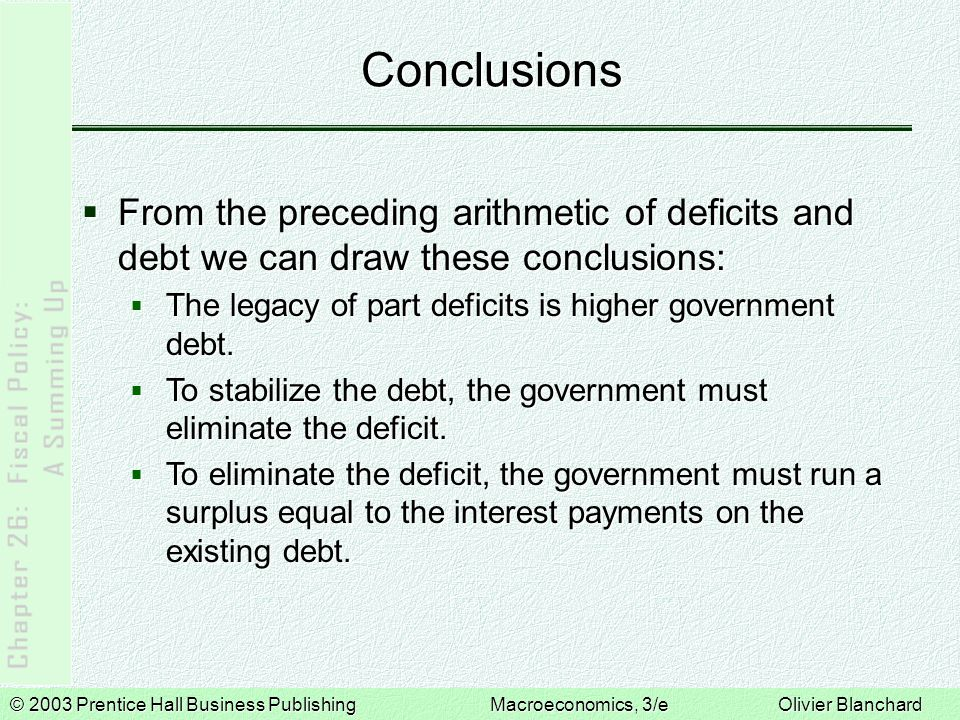 Conclusions From the preceding arithmetic of deficits and debt we can draw these conclusions: The legacy of part deficits is higher government debt.