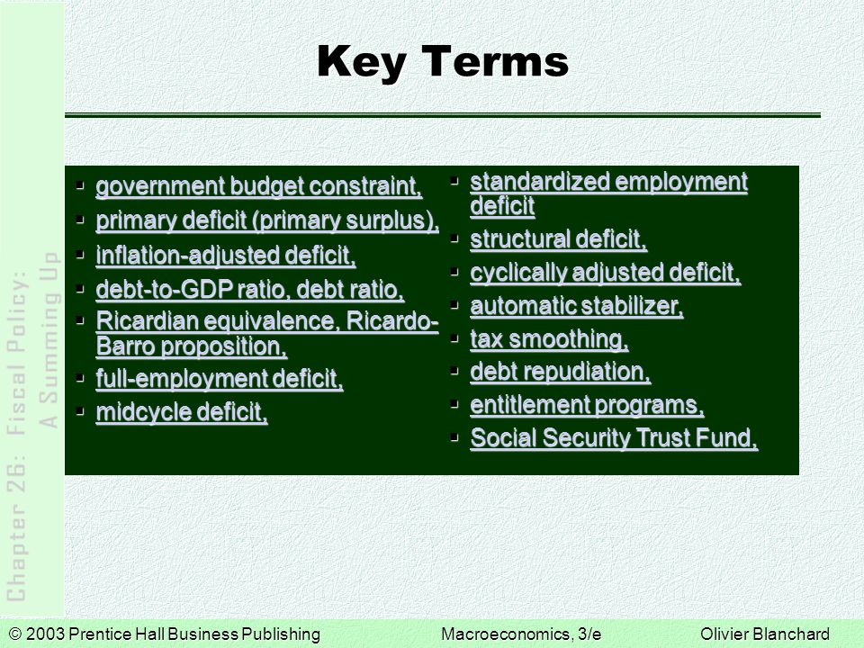 Key Terms government budget constraint,