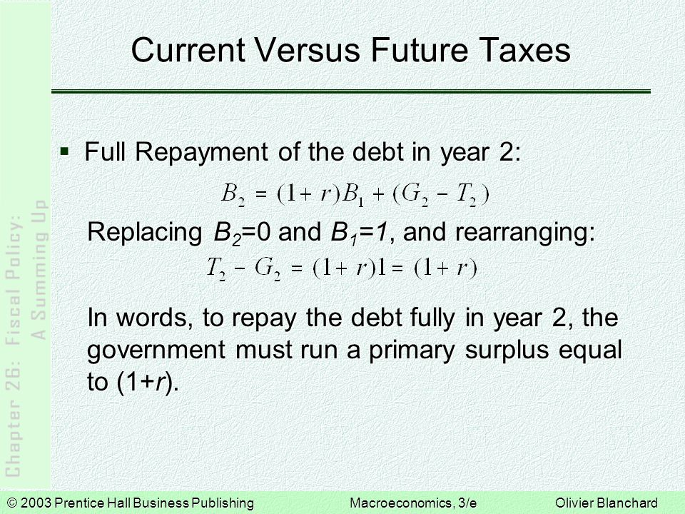 Current Versus Future Taxes