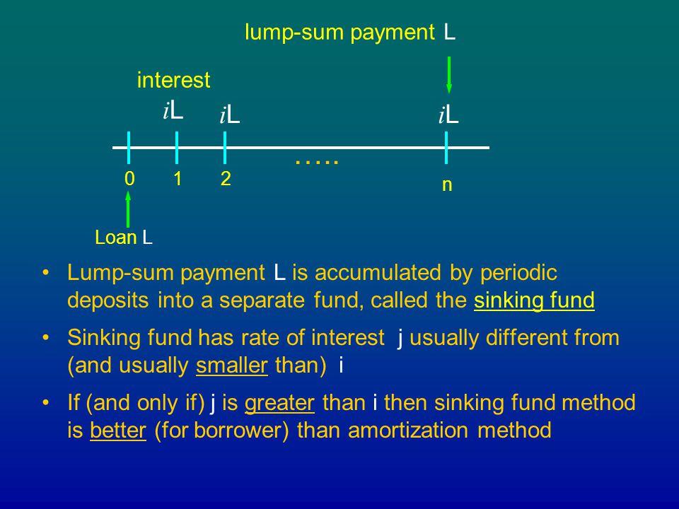 ….. iL iL lump-sum payment L interest iL