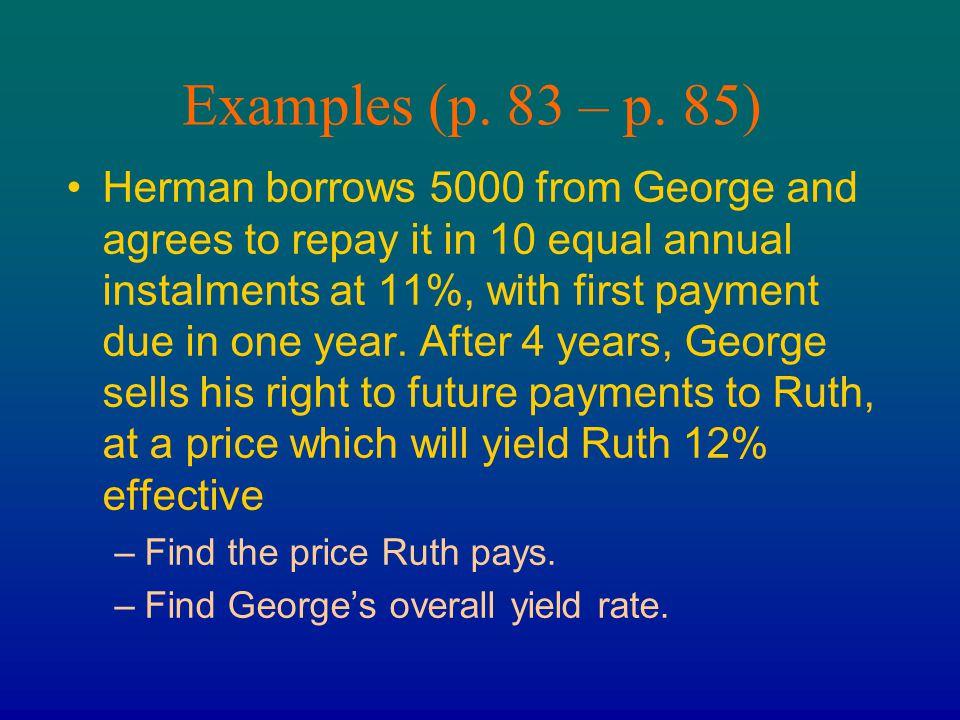 Examples (p. 83 – p. 85)