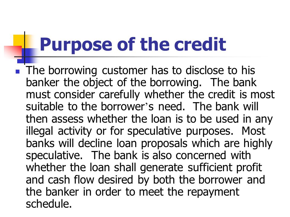 Purpose of the credit