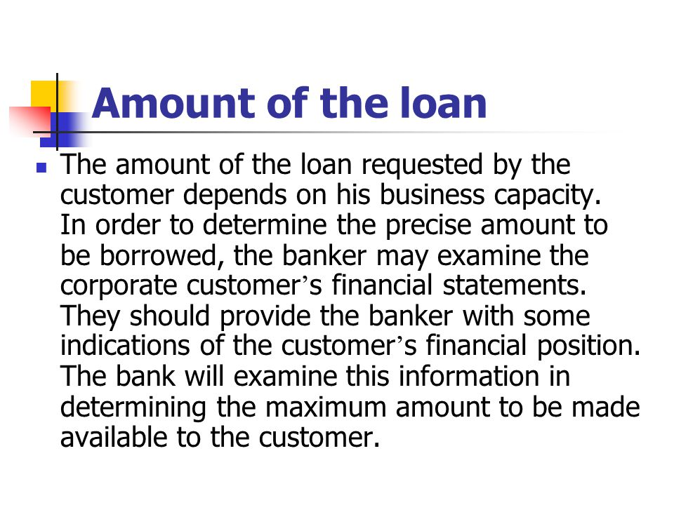 Amount of the loan