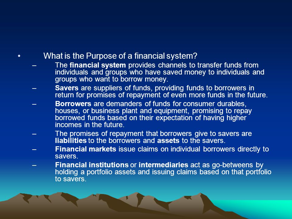 What is the Purpose of a financial system