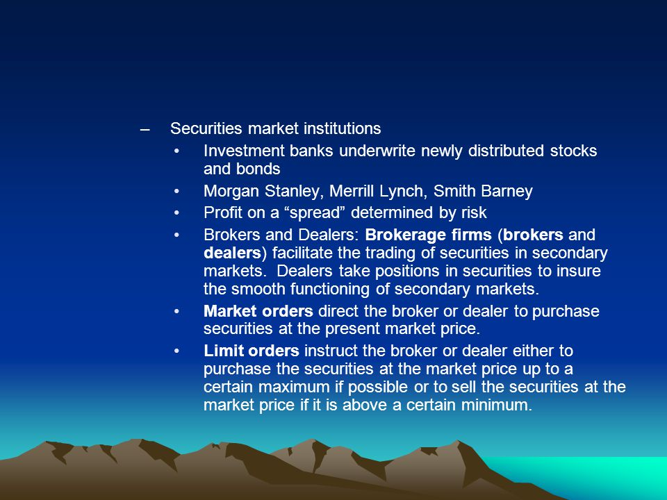 Securities market institutions