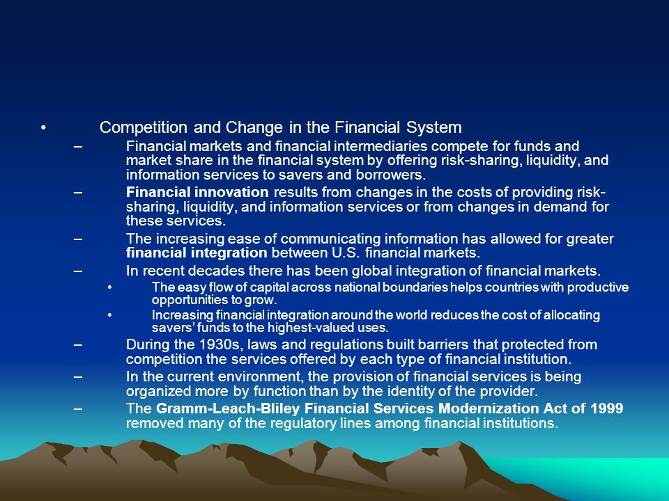 Competition and Change in the Financial System