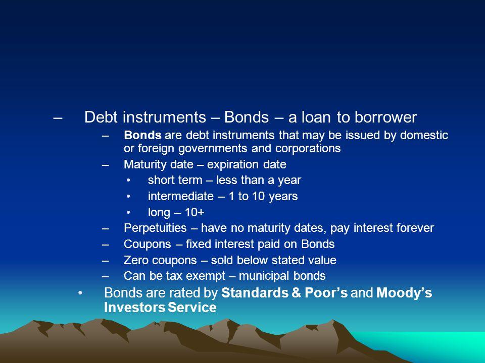Debt instruments – Bonds – a loan to borrower